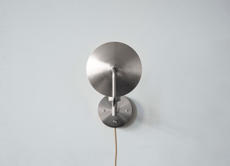 Workstead Orbit Sconce with Spun Nickel Swivel and Convex Reflector For Sale 3
