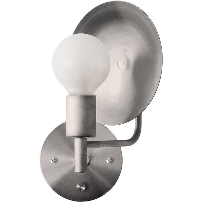 Workstead Orbit Sconce with Spun Nickel Swivel and Convex Reflector For Sale