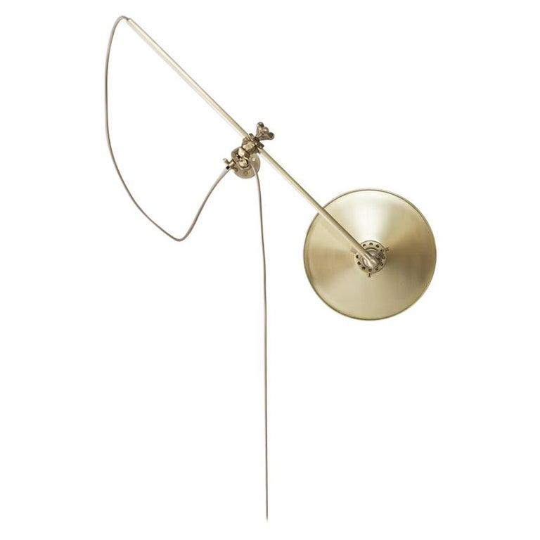 Workstead Plug-In Wall Lamp in Brass with Adjustable Spun Brass Shade For Sale
