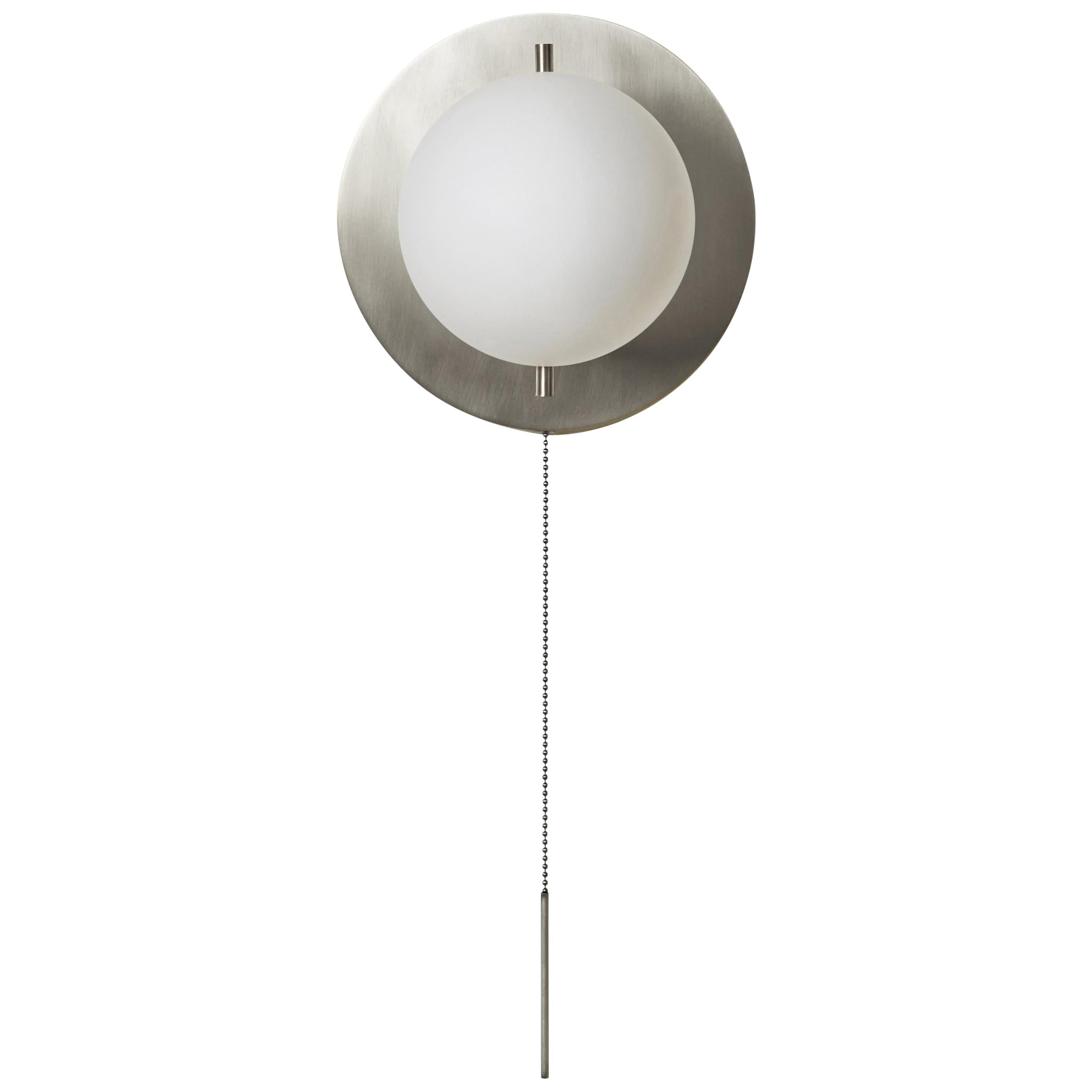 Workstead Signal Sconce in Nickel with Glass Globe and Pull Chain