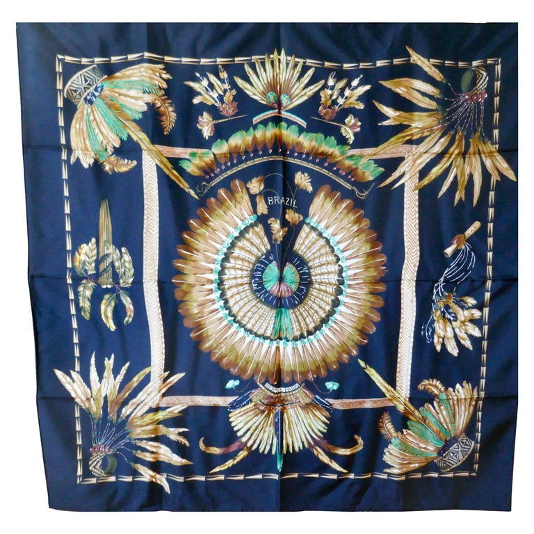 "World Famous Hermes Silk Scarf ""Brazil"" by Laurence Bourthoumieux, 2001 For Sale"