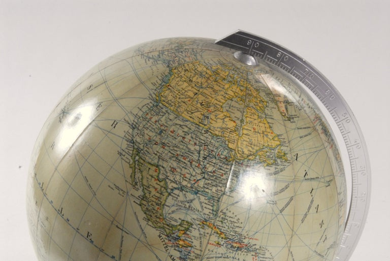 Mid-Century Modern World Globe Glass Light West Germany 1950s JRO with Bakelite Base For Sale