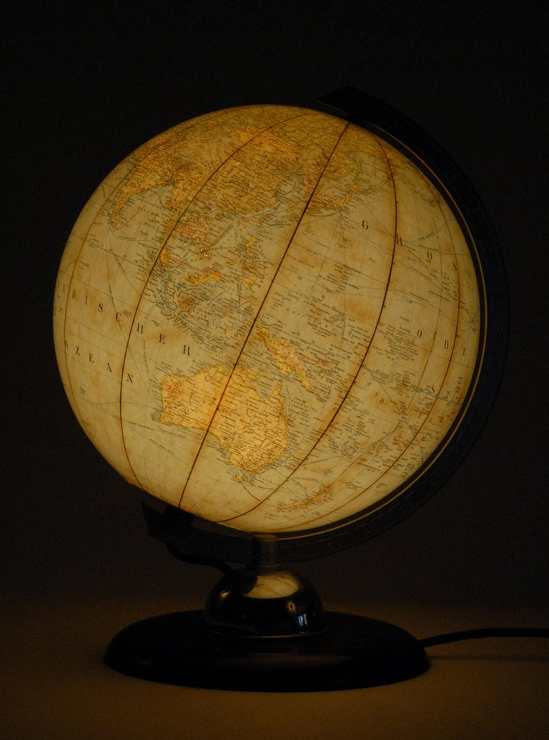 World Globe Glass Light West Germany 1950s JRO with Bakelite Base In Excellent Condition For Sale In Sydney, NSW