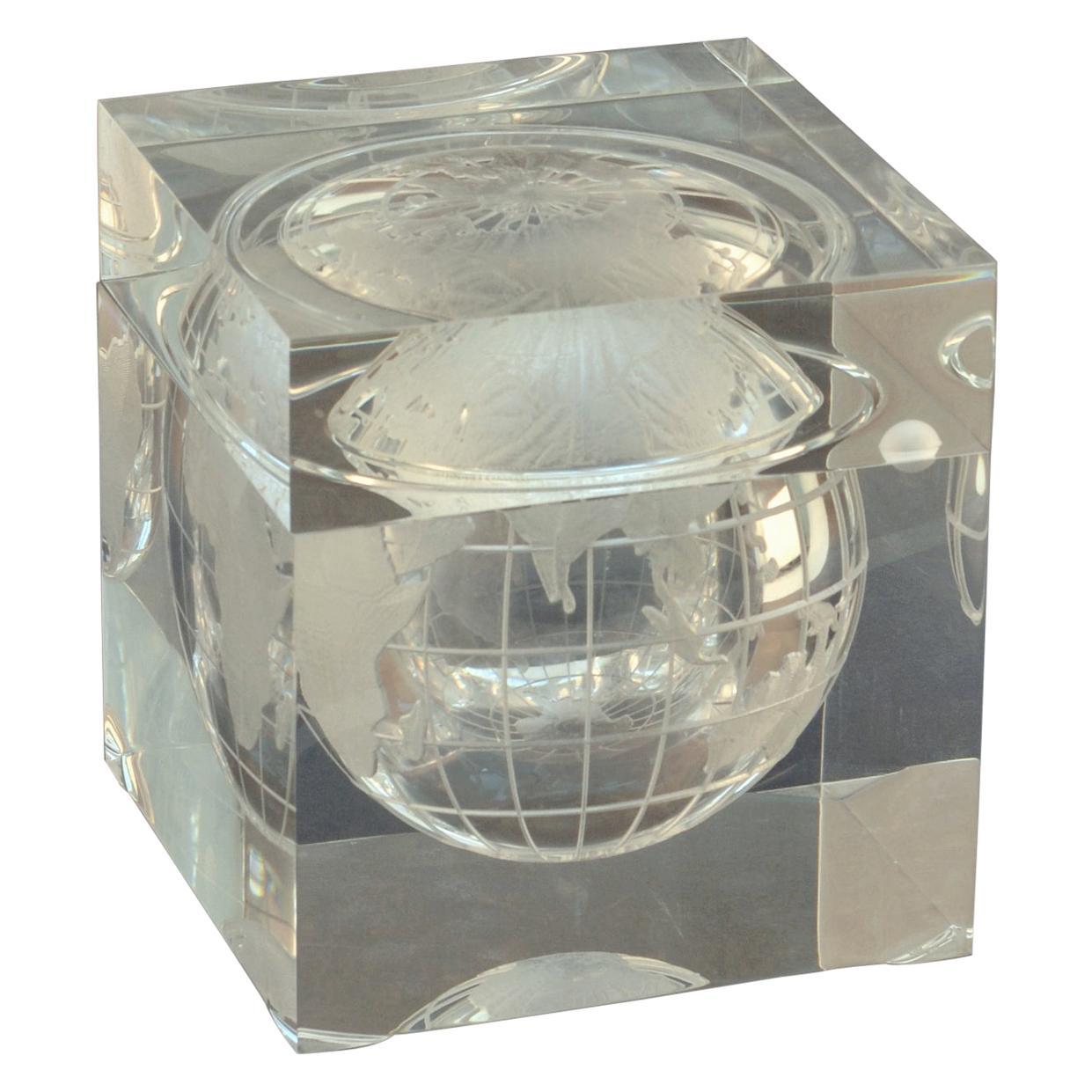 World Globe Ice Bucket Acrylic Cube by Alessandro Albrizzi, Italy, 1960's