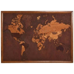 World Map Exotic Wood Wall Art Custom Hand Carved Carpentry, 1950s