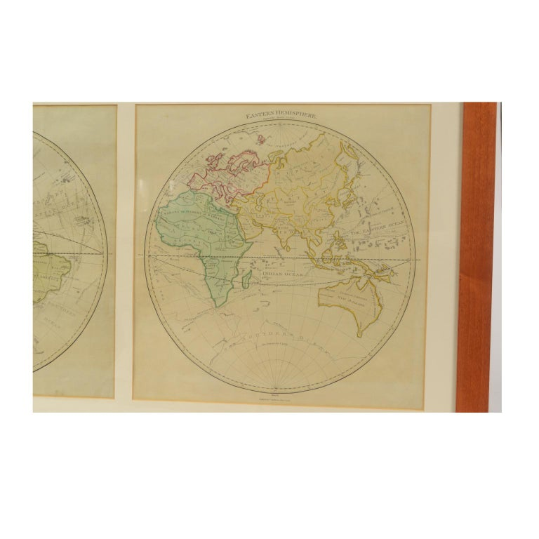 World map published in June 1783 by Stackhouse and engraved by S.J. Neele. It is a geographical map printed by engraving on a copper plate, coeval coloring, which depicts the entire earth's surface divided into two parts that correspond to the two