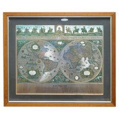 World Map Silver Leaf Print Based on Original Willem Blaeu Wall Map 1571-1638