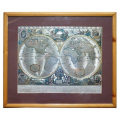World Map Silver Leaf Print Based on the Original Johnson 1882 Military Campaign