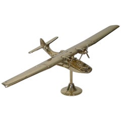 World War 2 RAF Catalina Aircraft Model in Brass, circa 1941