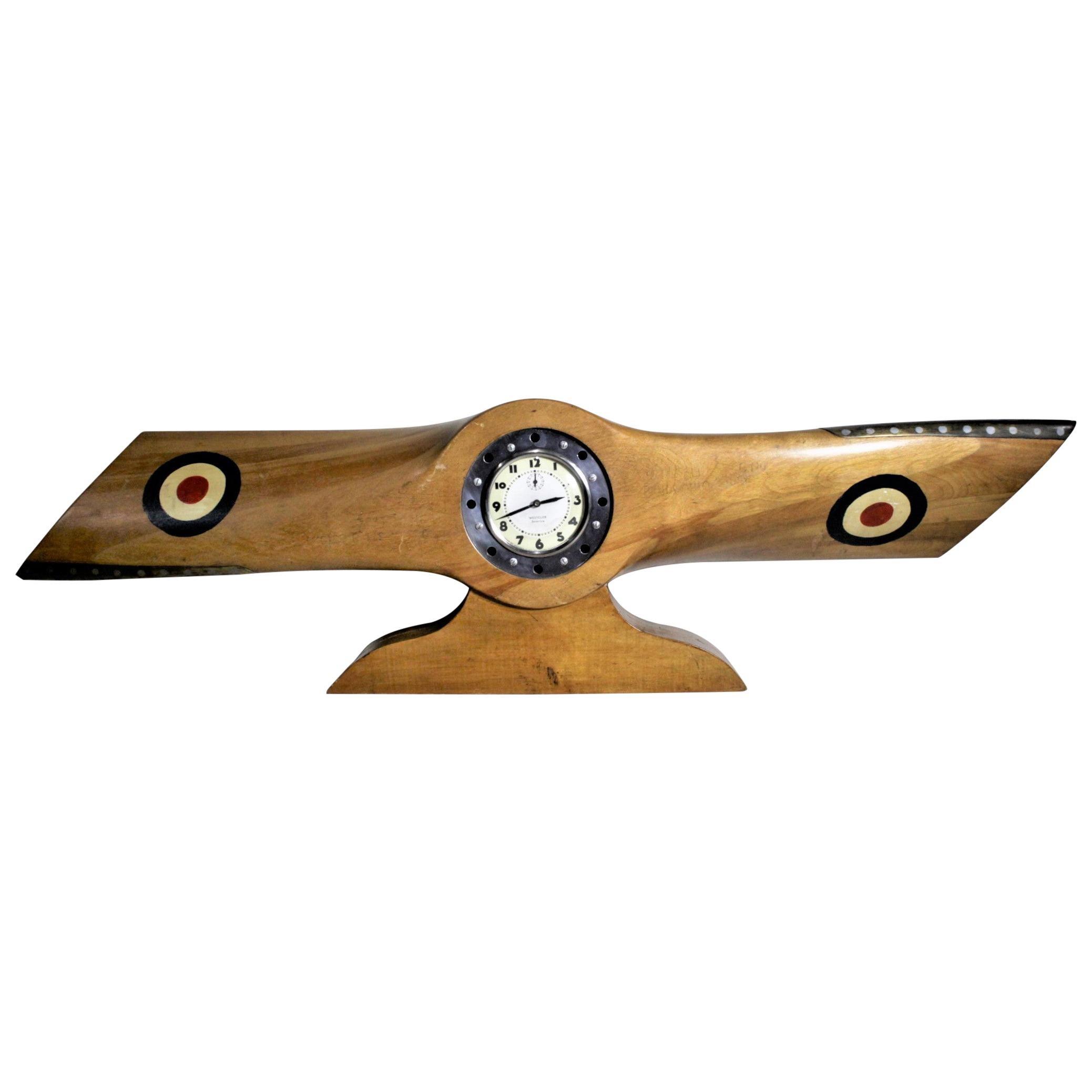 World War 2 / WWII Era Wooden Airplane Propeller Folk Art Mantel Clock