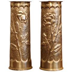 World War I French Trench Artillery Brass Shell Casing Vases, Dated 1915