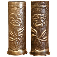 World War I French Trench Artillery Brass Shell Casing Vases, Dated 1917