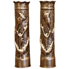 World War I French Trench Artillery Brass Shell Casing Vases with Foliage Motifs