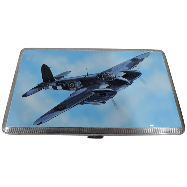 World War II-Era Sterling Silver and Enamel Case with Fighter Plane For Sale