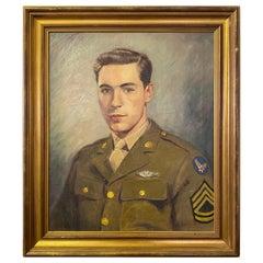 World War II Oil on Canvas Soldier Portrait, Signed Conrad Drake
