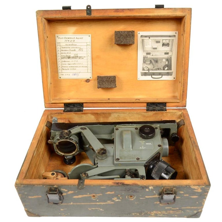 World War II Sextant Made in Russia with Original Wooden Box For Sale