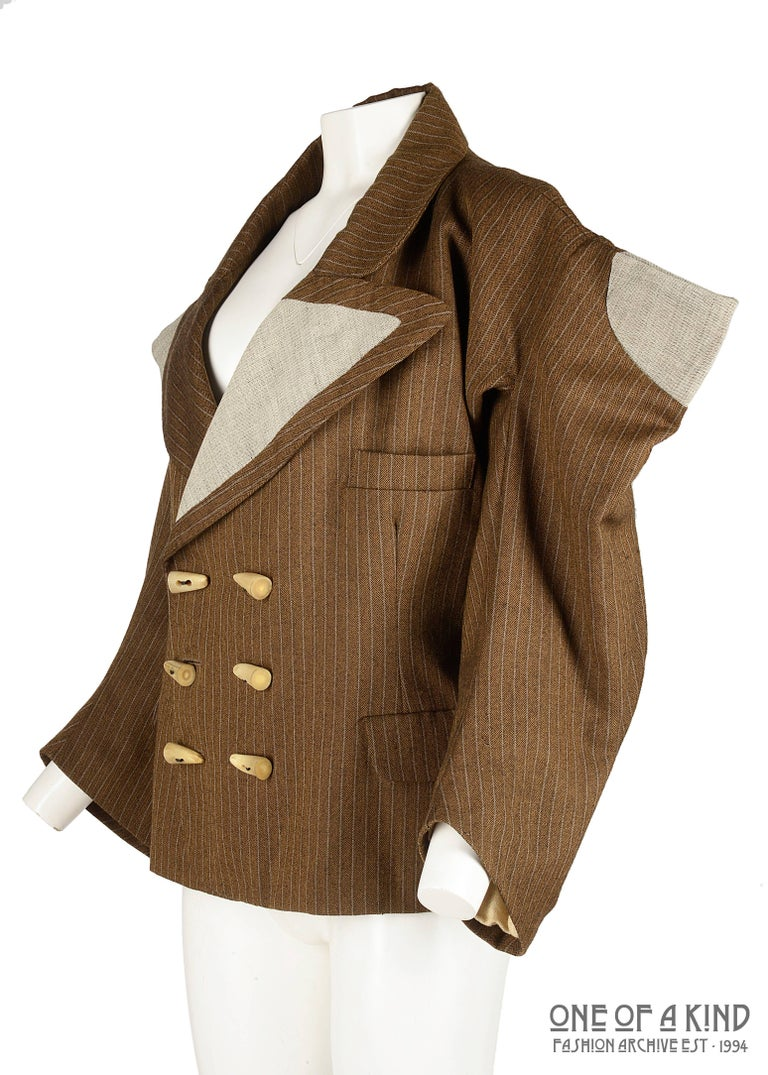 Brown Worlds End brown pinstripe wool 'witches' double breasted jacket, AW 1983 For Sale