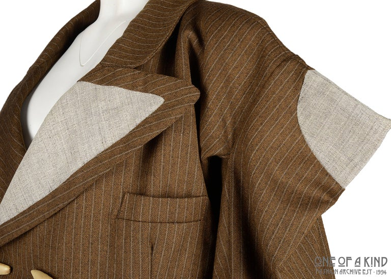 Worlds End brown pinstripe wool 'witches' double breasted jacket, AW 1983 In Good Condition For Sale In London, GB