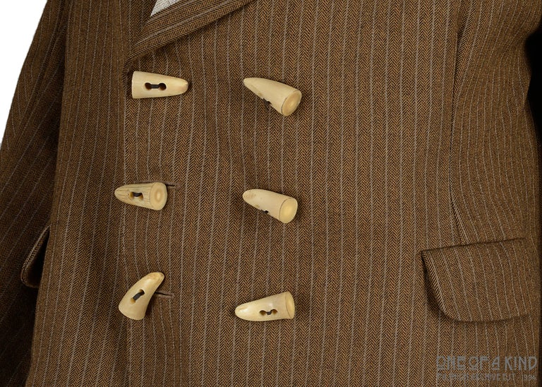 Worlds End brown pinstripe wool 'witches' double breasted jacket, AW 1983 For Sale 1