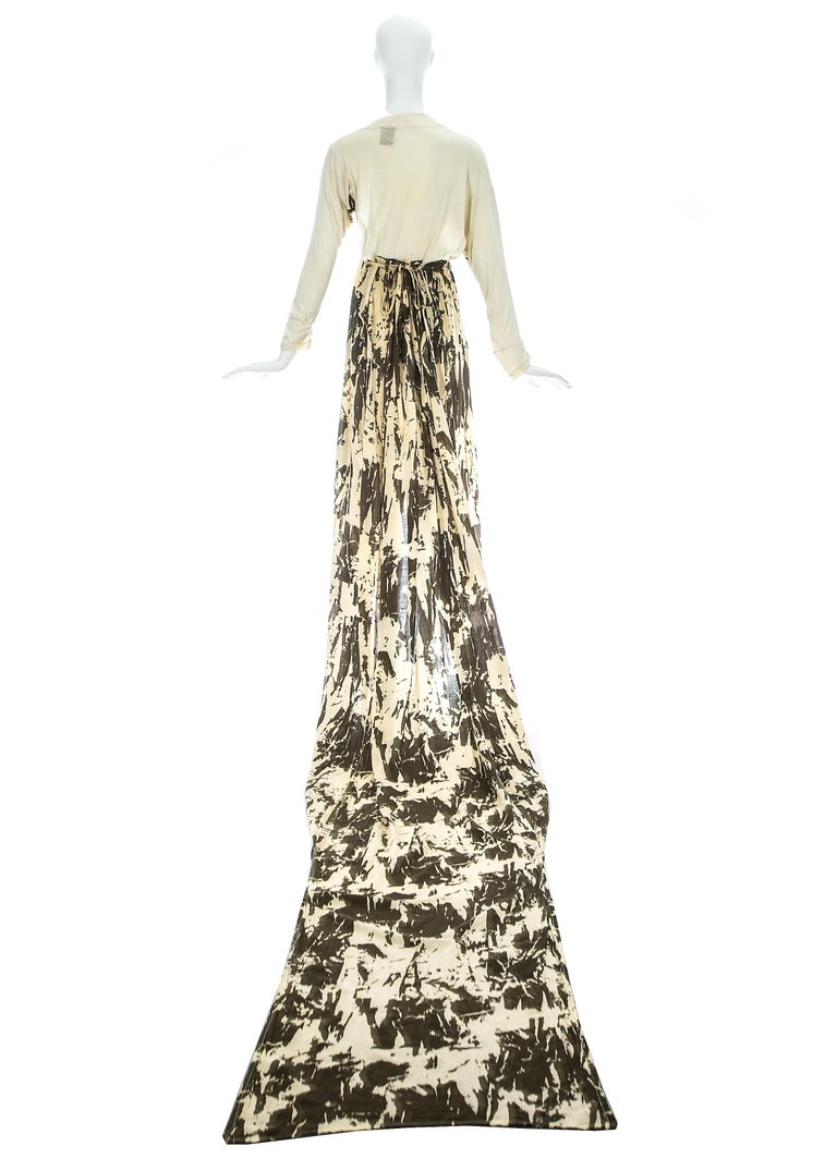 Worlds End cream and brown acid wash toga dress with extra long train, S/S 1982 In Good Condition For Sale In London, GB