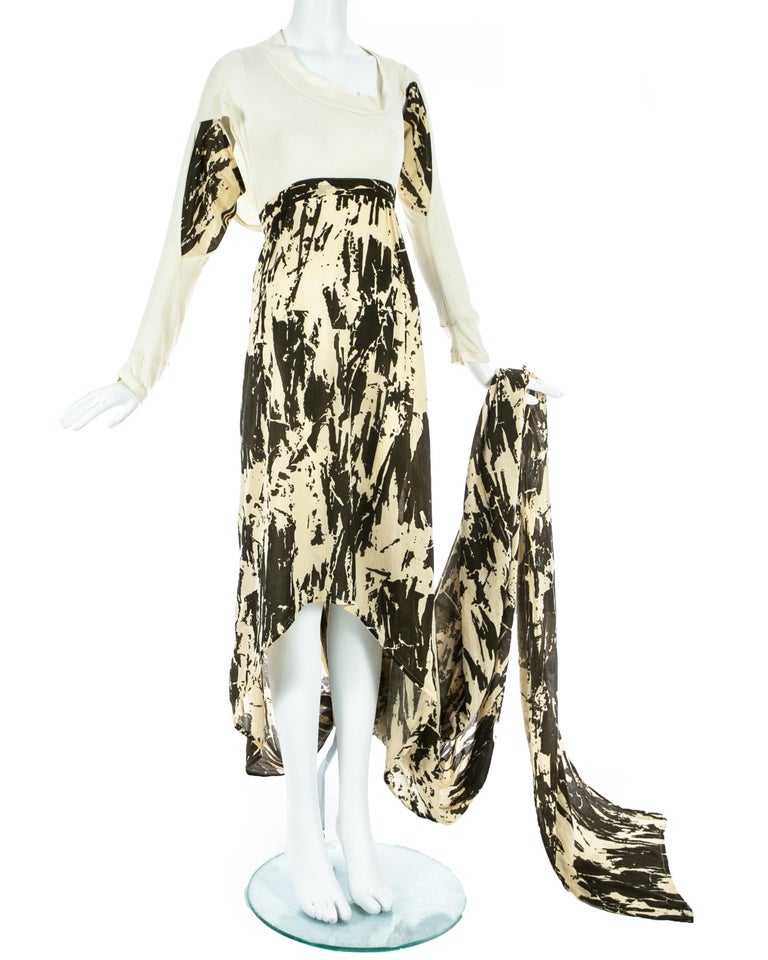 Women's Worlds End cream and brown acid wash toga dress with extra long train, S/S 1982 For Sale