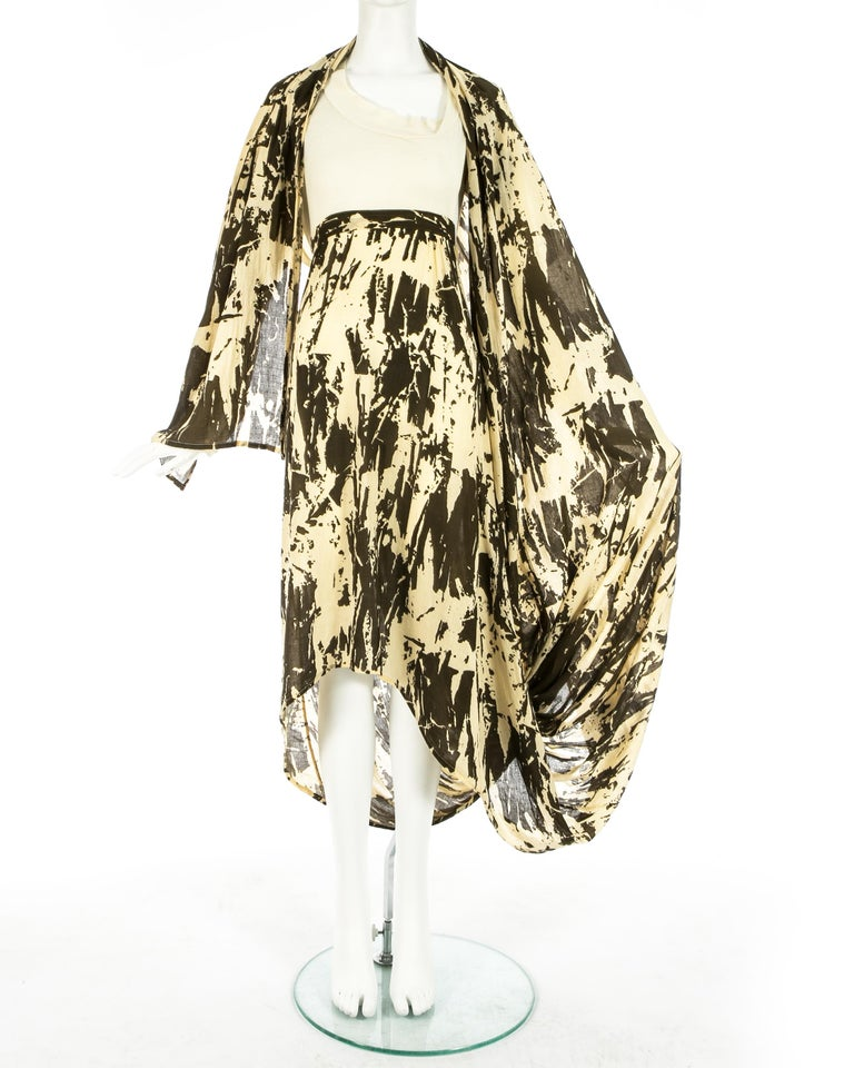 Worlds End cream and brown acid wash toga dress with extra long train, S/S 1982 For Sale 1