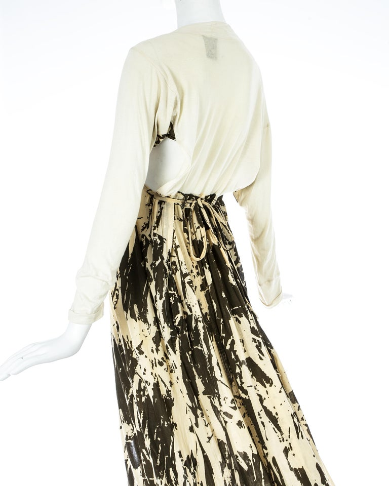 Worlds End cream and brown acid wash toga dress with extra long train, S/S 1982 For Sale 2