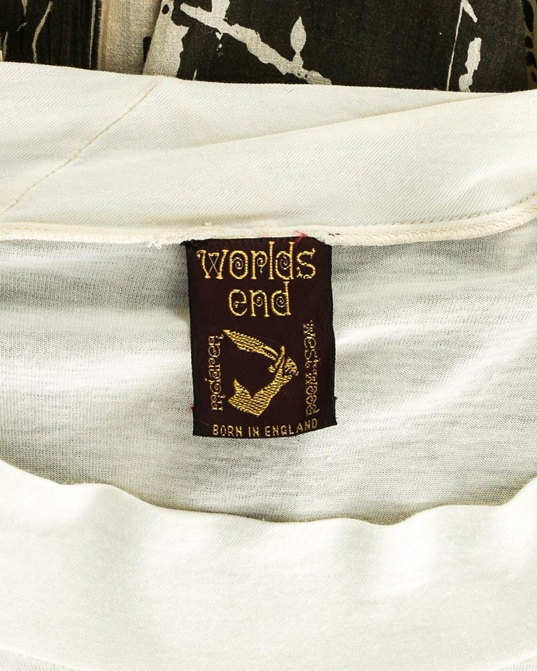 Worlds End cream and brown acid wash toga dress with extra long train, S/S 1982 For Sale 3