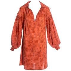 Worlds End orange cotton oversized 'Pirates' blouse, fw 1981
