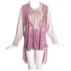 Worlds End pink cotton 'Punkature' oversized blouse, ss 1983
