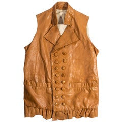 Worlds End tan leather Pirates double breasted waistcoat, fw 1981