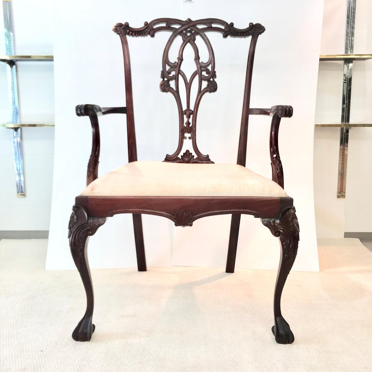 High quality carved solid mahogany giant Chippendale style armchair with upholstered seat. Very sturdy. Great for an event prop, advertising or promotional display.  Measures: Seat height 37