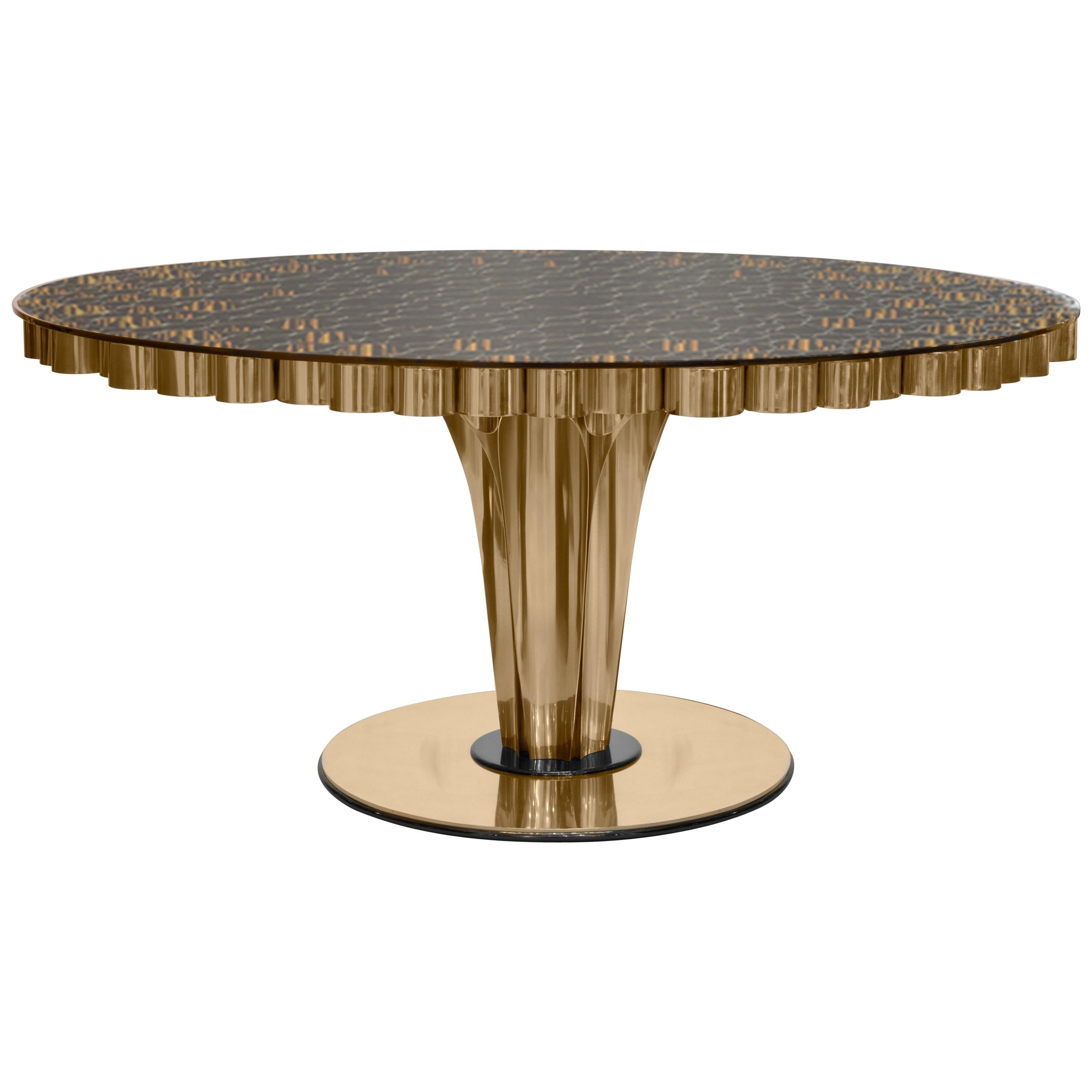 Wormley Dining Table in Brass and Clear Glass