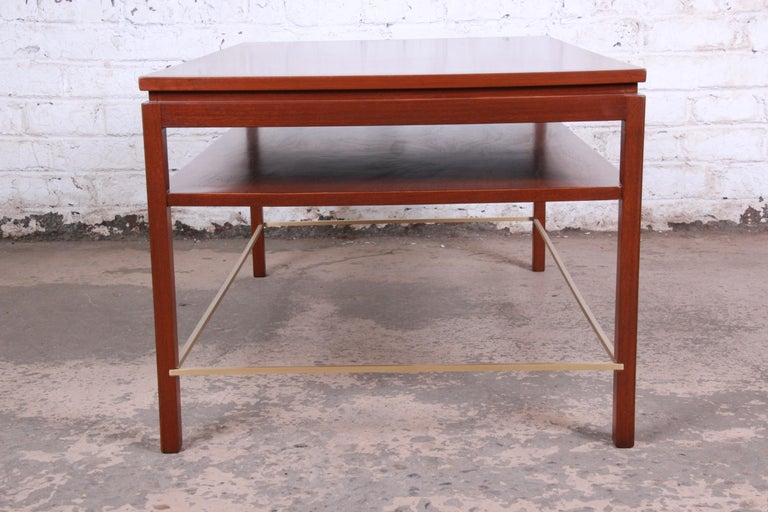 Wormley for Dunbar Two-Tier Walnut and Brass Cocktail Table, Newly Restored For Sale 4