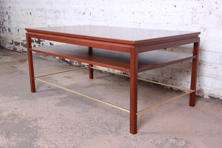 Mid-Century Modern Wormley for Dunbar Two-Tier Walnut and Brass Cocktail Table, Newly Restored For Sale