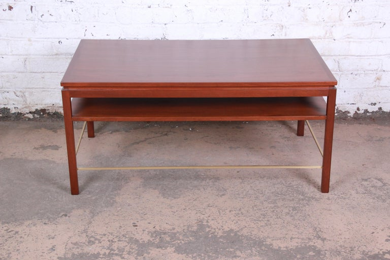 American Wormley for Dunbar Two-Tier Walnut and Brass Cocktail Table, Newly Restored For Sale
