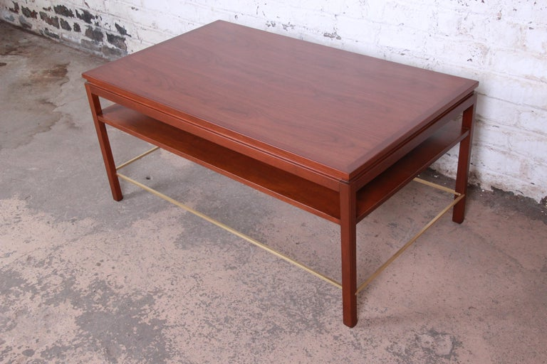 Wormley for Dunbar Two-Tier Walnut and Brass Cocktail Table, Newly Restored In Good Condition For Sale In South Bend, IN
