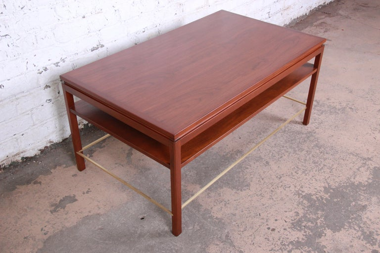 Mid-20th Century Wormley for Dunbar Two-Tier Walnut and Brass Cocktail Table, Newly Restored For Sale