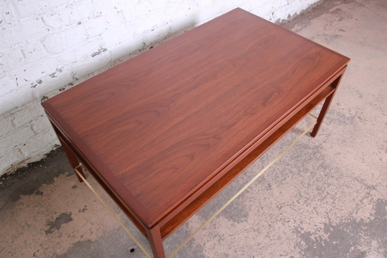 Wormley for Dunbar Two-Tier Walnut and Brass Cocktail Table, Newly Restored For Sale 2