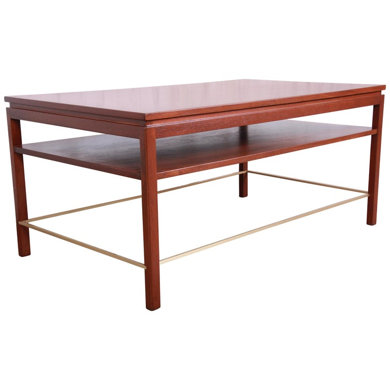 Wormley for Dunbar Two-Tier Walnut and Brass Cocktail Table, Newly Restored For Sale