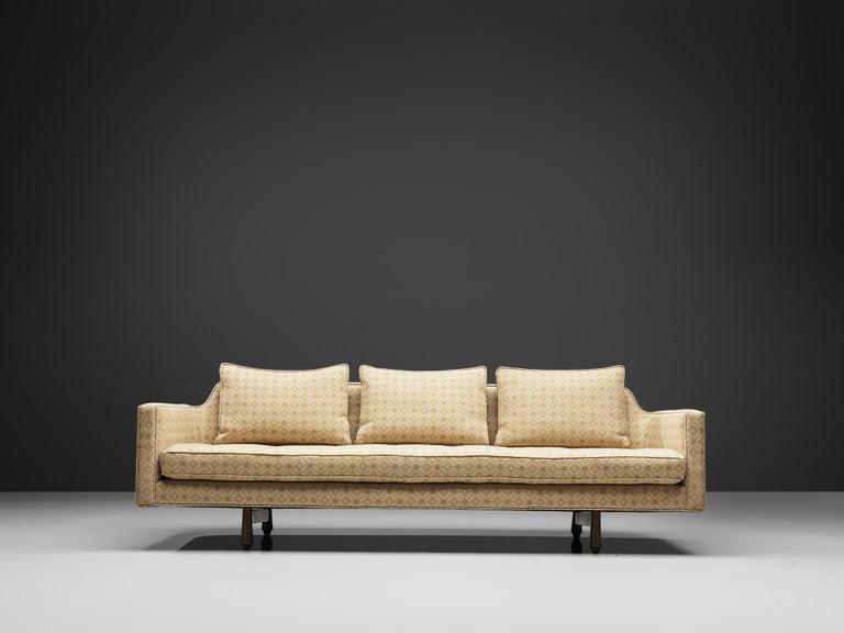 American Edward Wormley Sofa Model 495 in Soft Yellow Fabric