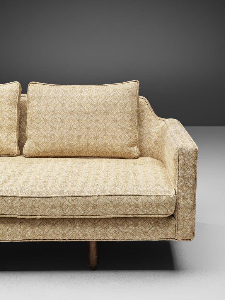 Edward Wormley Sofa Model 495 in Soft Yellow Fabric 1