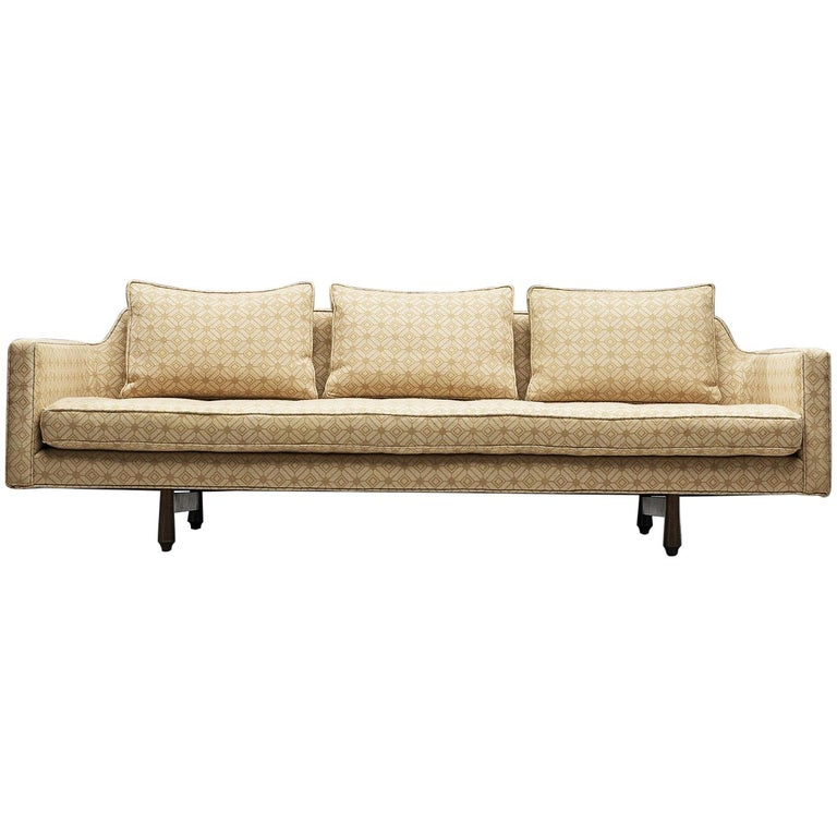 Edward Wormley Sofa Model 495 in Soft Yellow Fabric