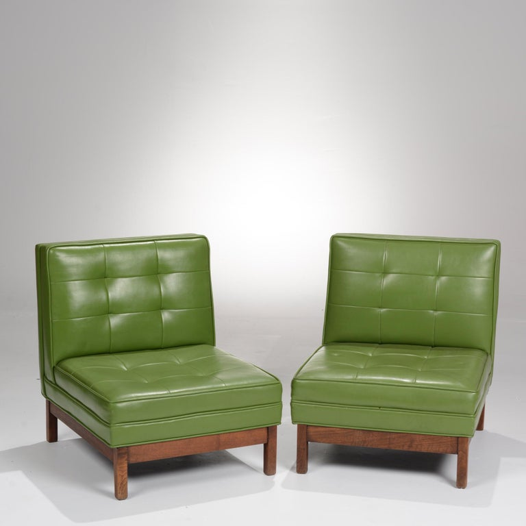 Wormley Style Green Slipper Chairs For Sale 3