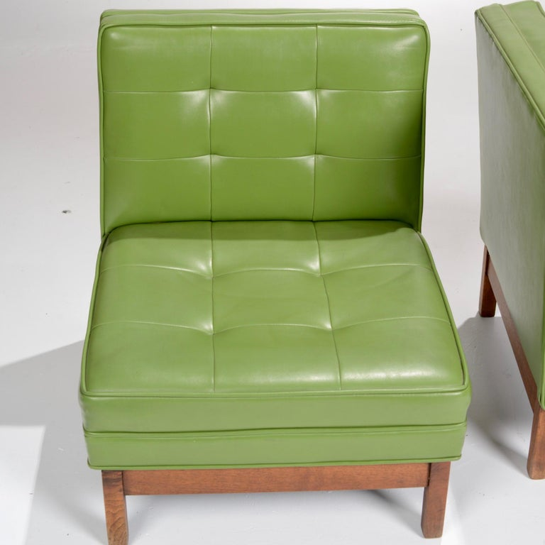 Wormley Style Green Slipper Chairs For Sale 4
