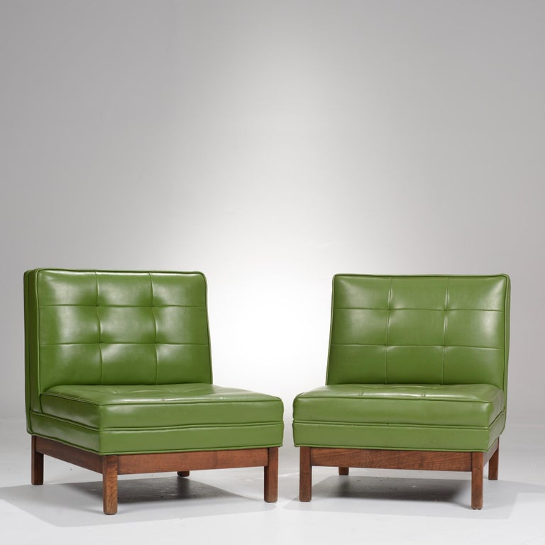 Mid-Century Modern Wormley Style Green Slipper Chairs For Sale