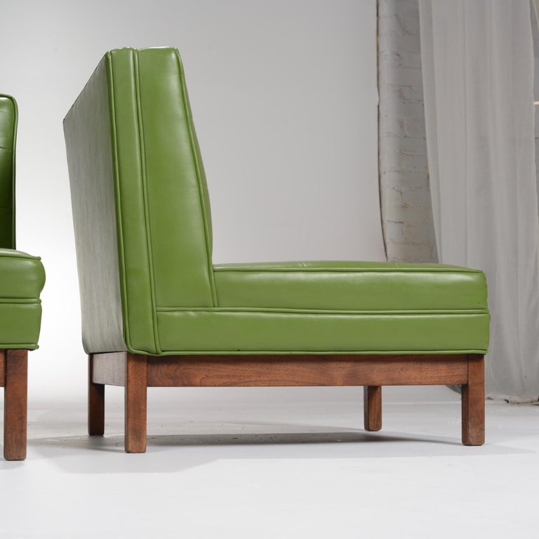 American Wormley Style Green Slipper Chairs For Sale