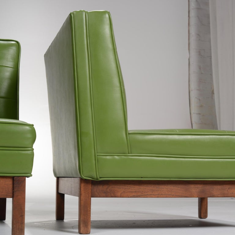 Wormley Style Green Slipper Chairs In Good Condition For Sale In Los Angeles, CA