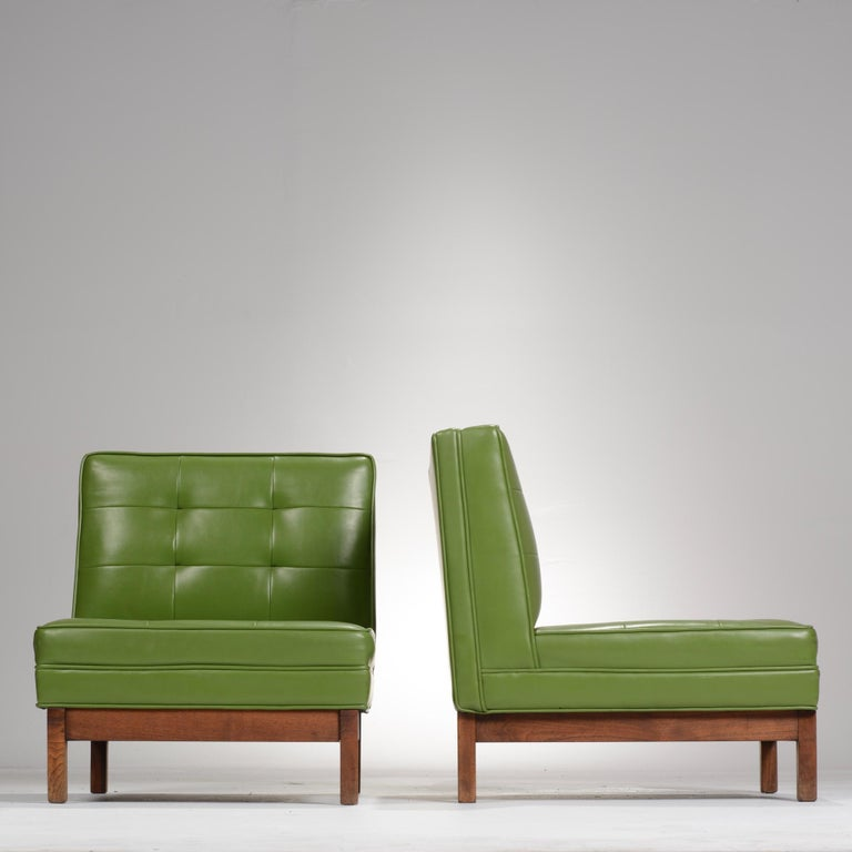 Mid-20th Century Wormley Style Green Slipper Chairs For Sale