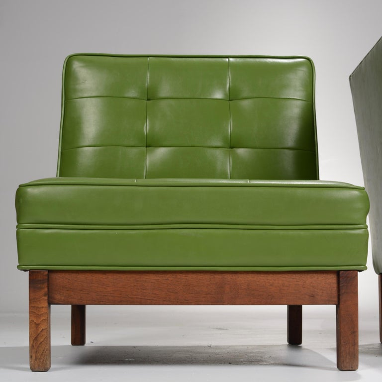 Walnut Wormley Style Green Slipper Chairs For Sale